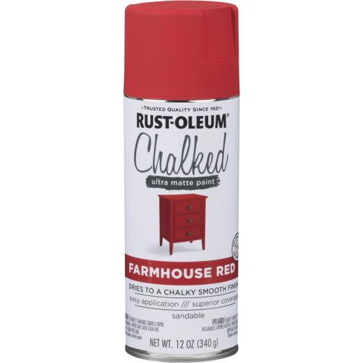Rust-Oleum 12 Oz. Chalked Ultra Matte Farmhouse Red Chalk Spray Paint